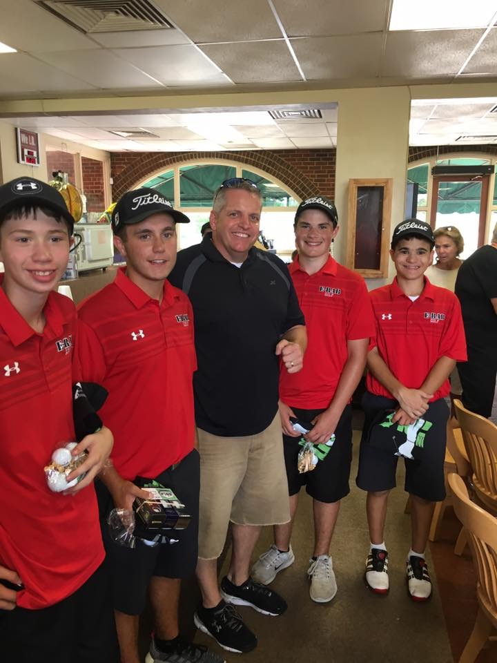 E-Rabs golf team; Jordan Compton, Jack Masters, John Sandberg and Nick Rundle with Coach Dean Martinetti at Ingersoll Golf Course on Saturday, September 23rd.