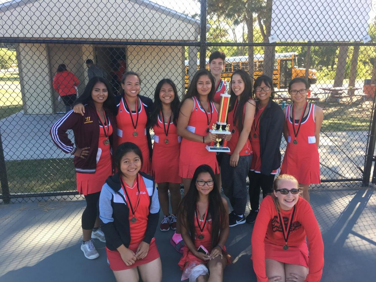 E-Rab+ladies+take+first+place+at+East+Aurora+tournament+on+September+30.+All+girls+in+the+East+tennis+team+took+home+a+first+or+second+place+medal.